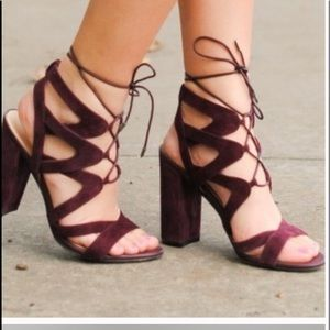 Sam Edelman wine suede string shoes